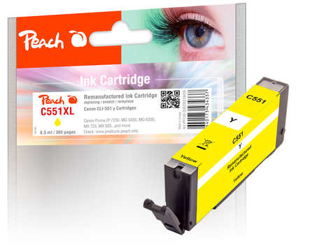 Peach  cartouche d'encre jaune avec puce compatible avec ID-Fabricant: CLI-551y Canon Pixma MX 725