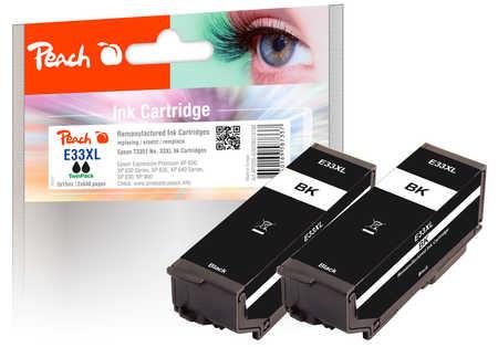 Peach  Twin Pack cartouche d'encre noire, compatible avec ID-Fabricant: No. 33XL bk, 2*T3351 Epson Expression Premium XP-830