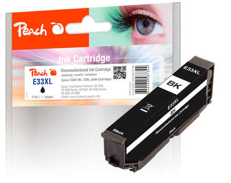 Peach  Ink Cartridge photoblack black, compatible with ID-Fabricant: T3361, No. 33XL phbk, C13T33614010 Epson Expression Premium XP-830
