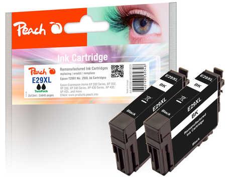 Peach  Twin Pack cartouche d'encre noire, compatible avec ID-Fabricant: No. 29XL bk, T2991 Epson Expression Home XP-452