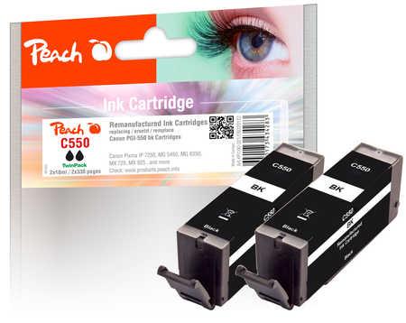 Peach  Twin Pack cartouche d'encre noire, compatible avec ID-Fabricant: PGI-550bk Canon Pixma MX 725