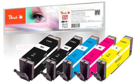 Peach  Multi Pack, compatible avec ID-Fabricant: PGI-550, CLI-551 Canon Pixma MX 725