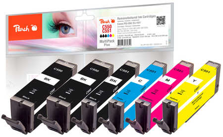 Peach  Multipack Plus, compatible avec ID-Fabricant: PGI-550, CLI-551 Canon Pixma MX 725