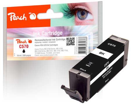 Peach Cartouche d'encre  noir, compatible avec ID-Fabricant: PGI-570 bk Canon Pixma TS 6050 Series