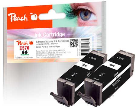Peach  Twin Pack cartouche d'encre noire, compatible avec ID-Fabricant: PGI-570 bk Canon Pixma TS 6050 Series