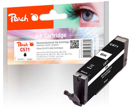 Peach  Ink Cartridge photoblack black, compatible with ID-Fabricant: CLI-571 bk Canon Pixma TS 8052
