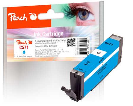 Peach Cartouche d'encre  cyan, compatible avec ID-Fabricant: CLI-571 c Canon Pixma TS 6050 Series