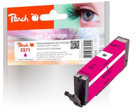 Peach Cartouche d'encre  magenta, compatible avec ID-Fabricant: CLI-571 m Canon Pixma TS 6050 Series