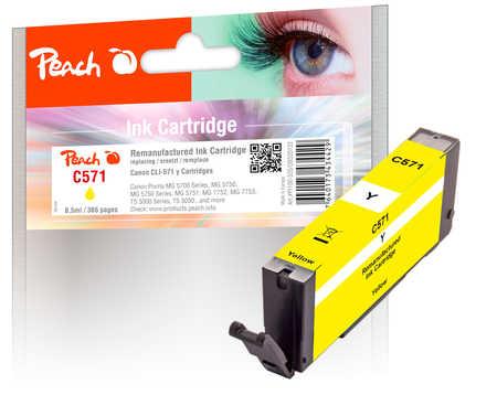 Peach Cartouche d'encre  jaune, compatible avec ID-Fabricant: CLI-571 y Canon Pixma TS 6050 Series