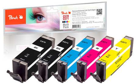 Peach  Multi Pack, compatible avec ID-Fabricant: PGI-570, CLI-571 Canon Pixma TS 6050 Series