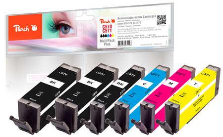 Peach  Multipack Plus, compatible avec ID-Fabricant: PGI-570, CLI-571 Canon Pixma TS 6050 Series