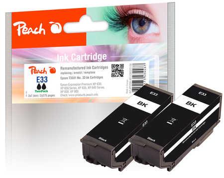 Peach  Twin Pack cartouche d'encre noire, compatible avec ID-Fabricant: No. 33 bk*2, T3331 Epson Expression Premium XP-830