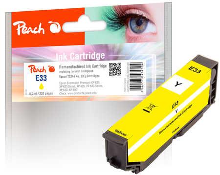 Peach Cartouche d'encre  jaune, compatible avec ID-Fabricant: No. 33 y, T3344 Epson Expression Premium XP-830