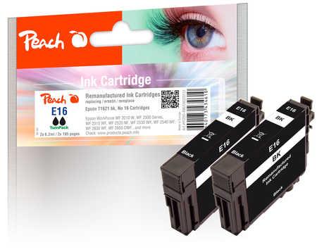 Peach  Twin Pack cartouche d'encre noire, compatible avec ID-Fabricant: No. 16 bk*2, T1621 Epson WorkForce WF-2530 WF