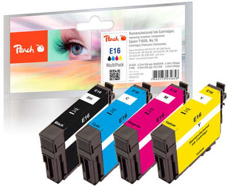 Peach  Multi Pack, compatible avec ID-Fabricant: No. 16, T1626 Epson WorkForce WF-2520 NF