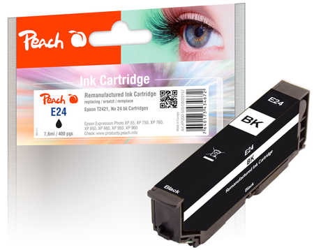 Peach Cartouche d'encre  noir, compatible avec ID-Fabricant: No. 24 bk, T2421 Epson Expression Photo XP-950