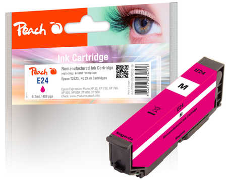 Peach Cartouche d'encre  magenta, compatible avec ID-Fabricant: No. 24 m, T2423 Epson Expression Photo XP-55