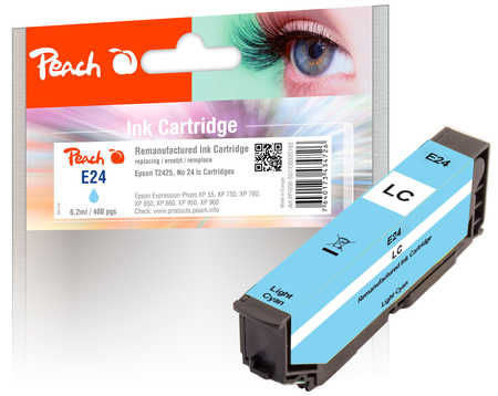 Peach  cartouche d'encre light cyan, compatible avec ID-Fabricant: No. 24 lc, T2425 Epson Expression Photo XP-55