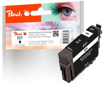 Peach  cartouche d'encre Cartridge noire compatible avec ID-Fabricant: No. 27 bk, T2701 Epson WorkForce WF-7710 DWF