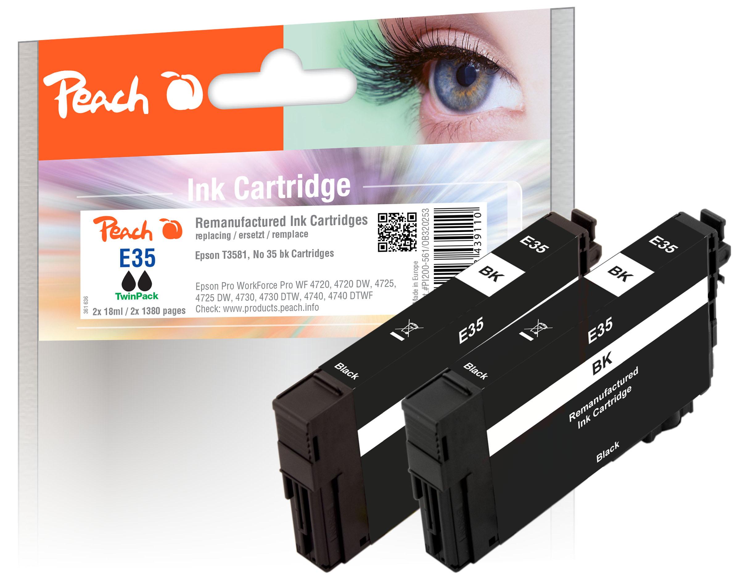 Peach  Twin Pack cartouche d'encre noire, compatible avec ID-Fabricant: No. 35, T3581*2 Epson WorkForce Pro WF-4735 DTWF