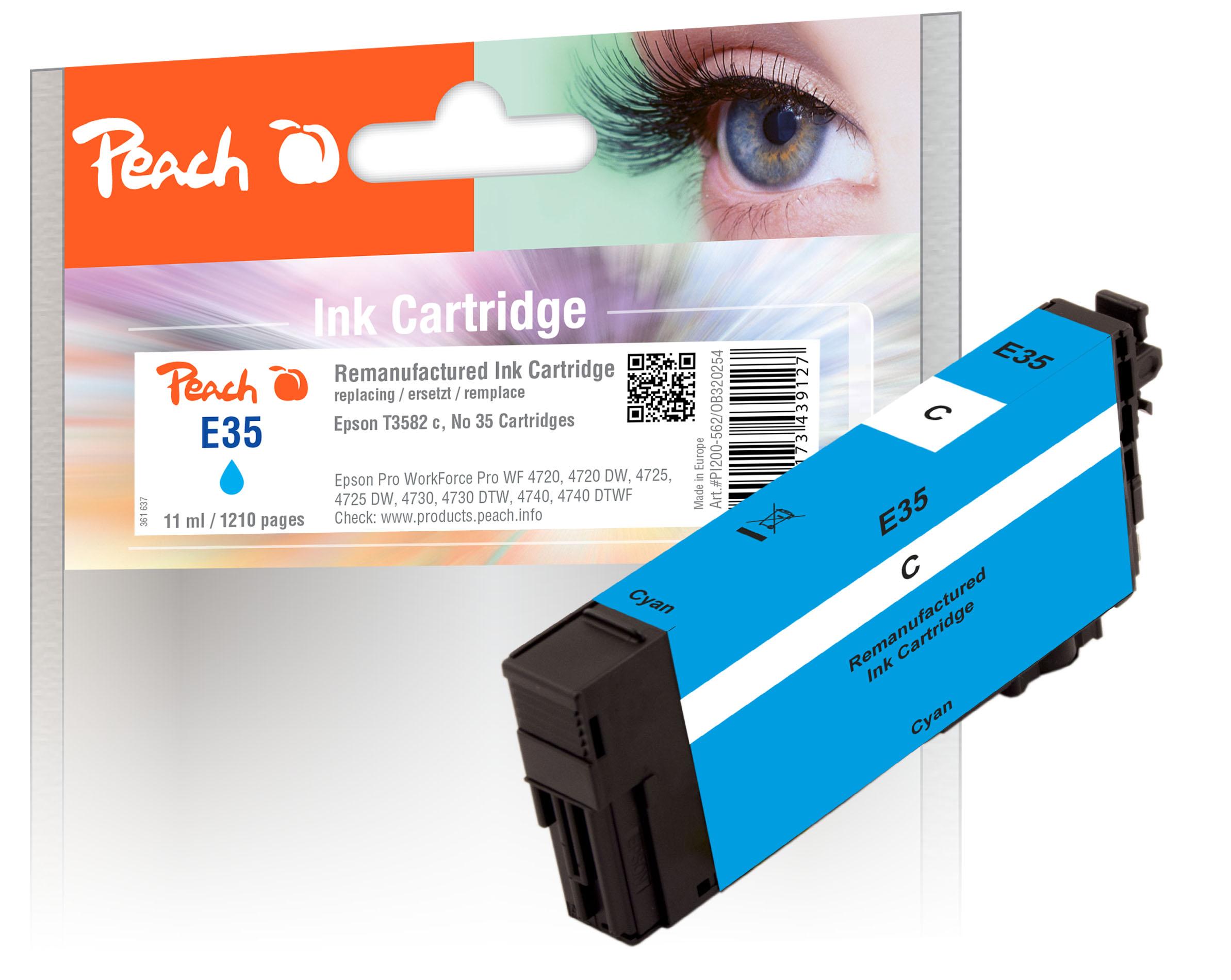 Peach Cartouche d'encre  cyan, compatible avec ID-Fabricant: No. 35 c, T3582 Epson WorkForce Pro WF-4735 DTWF