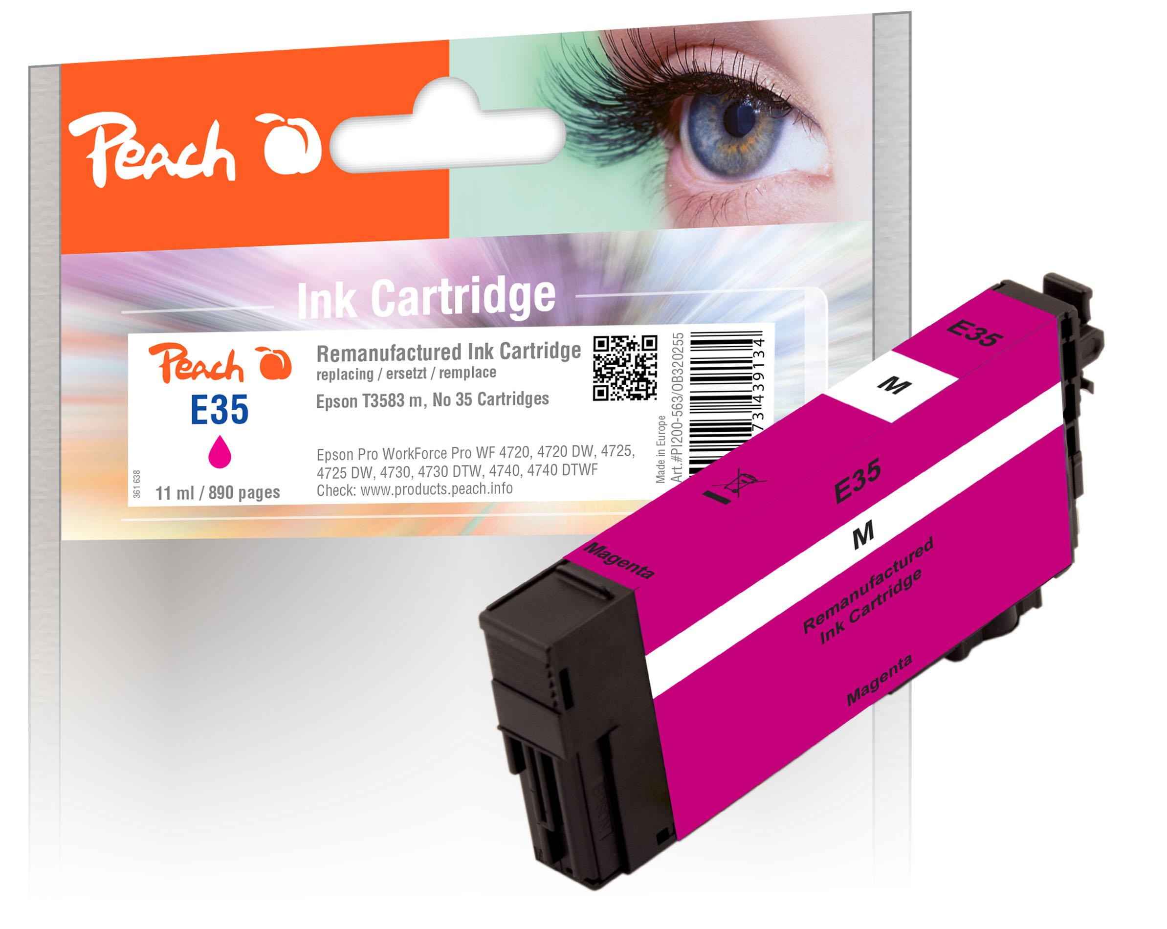 Peach Cartouche d'encre  magenta, compatible avec ID-Fabricant: No. 35 m, T3583 Epson WorkForce Pro WF-4735 DTWF