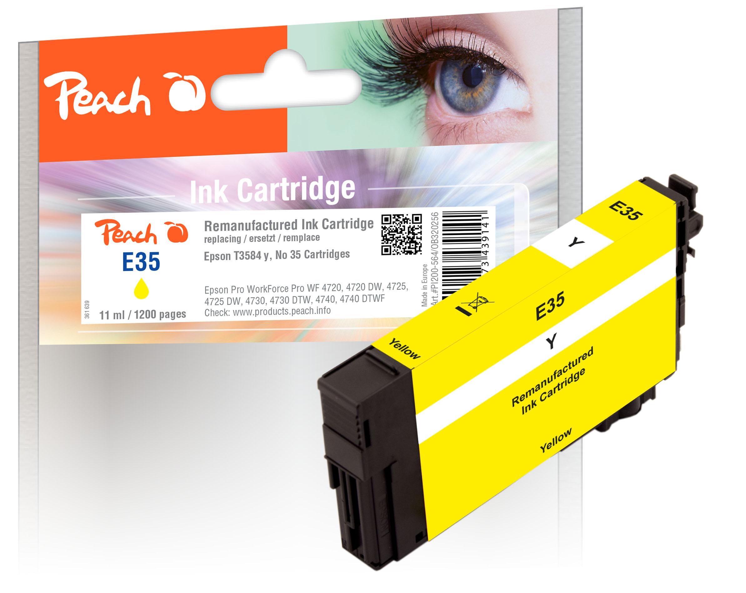 Peach Cartouche d'encre  jaune, compatible avec ID-Fabricant: No. 35 y, T3584 Epson WorkForce Pro WF-4735 DTWF
