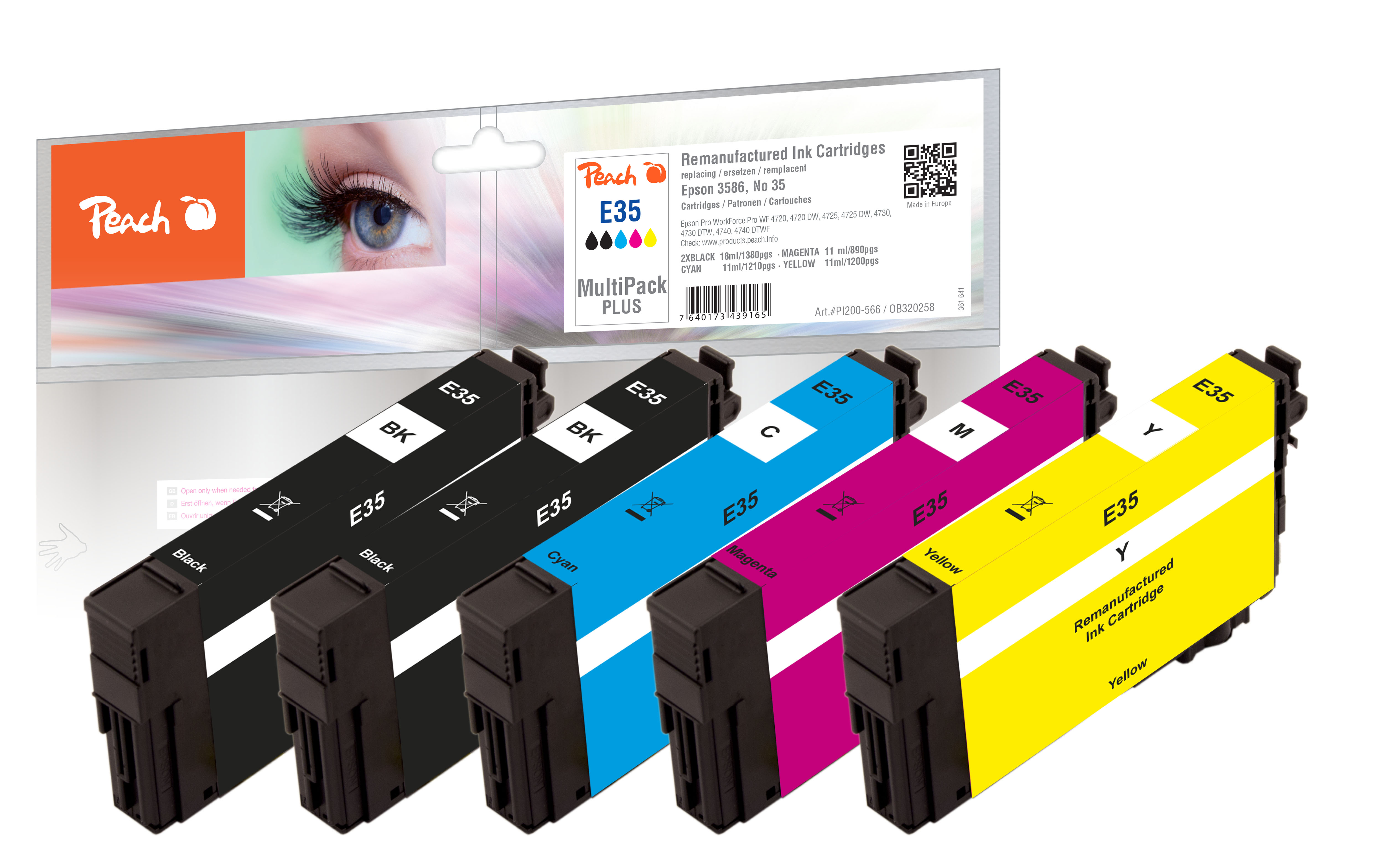Peach  Multipack Plus, compatible avec ID-Fabricant: No. 35 Epson WorkForce Pro WF-4735 DTWF