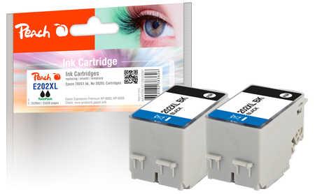 Peach  Twin Pack cartouche d'encre noire, compatible avec ID-Fabricant: No. 202XL, T02G1*2 Epson Expression Premium XP-6000