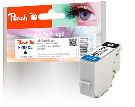 Peach  cartouche d'encre XL photo noire, compatible avec ID-Fabricant: No. 202XL, T02H1 Epson Expression Premium XP-6000