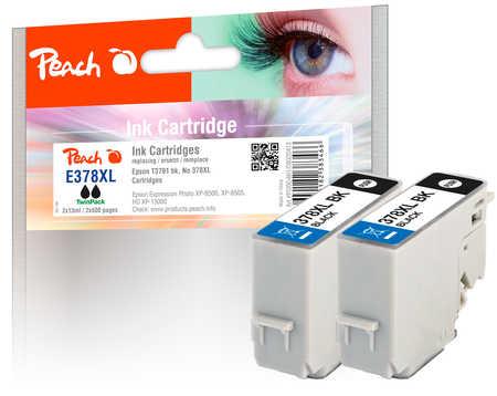 Peach  Twin Pack cartouche d'encre noire, compatible avec ID-Fabricant: No. 378XL, T3791*2 Epson Expression Photo XP-8600