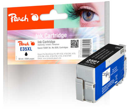 Peach  cartouche d'encre XL noire, compatible avec ID-Fabricant: No. 35XL, T3591 Epson WorkForce Pro WF-4735 DTWF