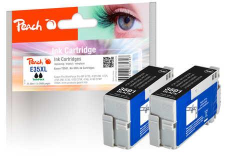 Peach  Twin Pack cartouche d'encre noire, compatible avec ID-Fabricant: No. 35XL, T3591*2 Epson WorkForce Pro WF-4735 DTWF