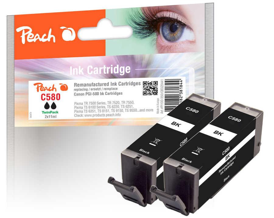 Peach  Twin Pack cartouche d'encre noire, compatible avec Canon Pixma TS 9100 Series