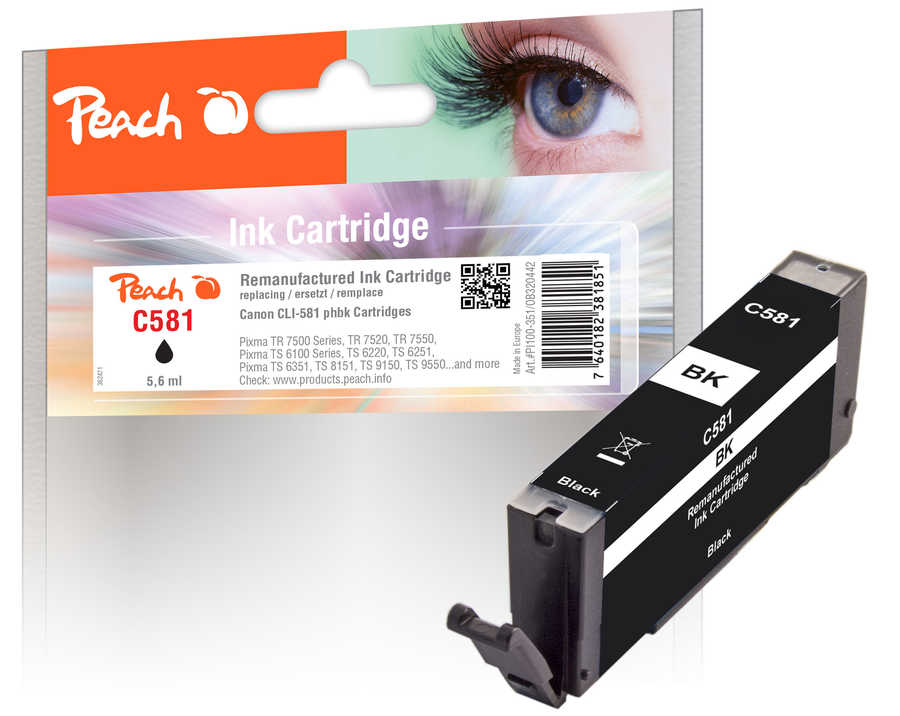 Peach  Ink Cartridge photoblack black, compatible with Canon Pixma TS 9100 Series