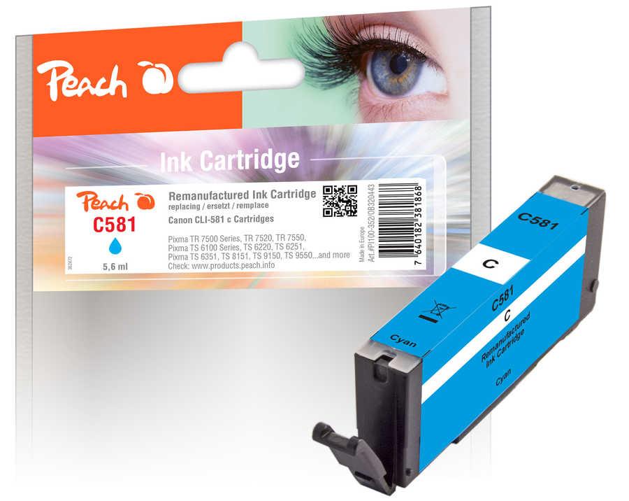 Peach Cartouche d'encre  cyan, compatible avec Canon Pixma TS 9100 Series