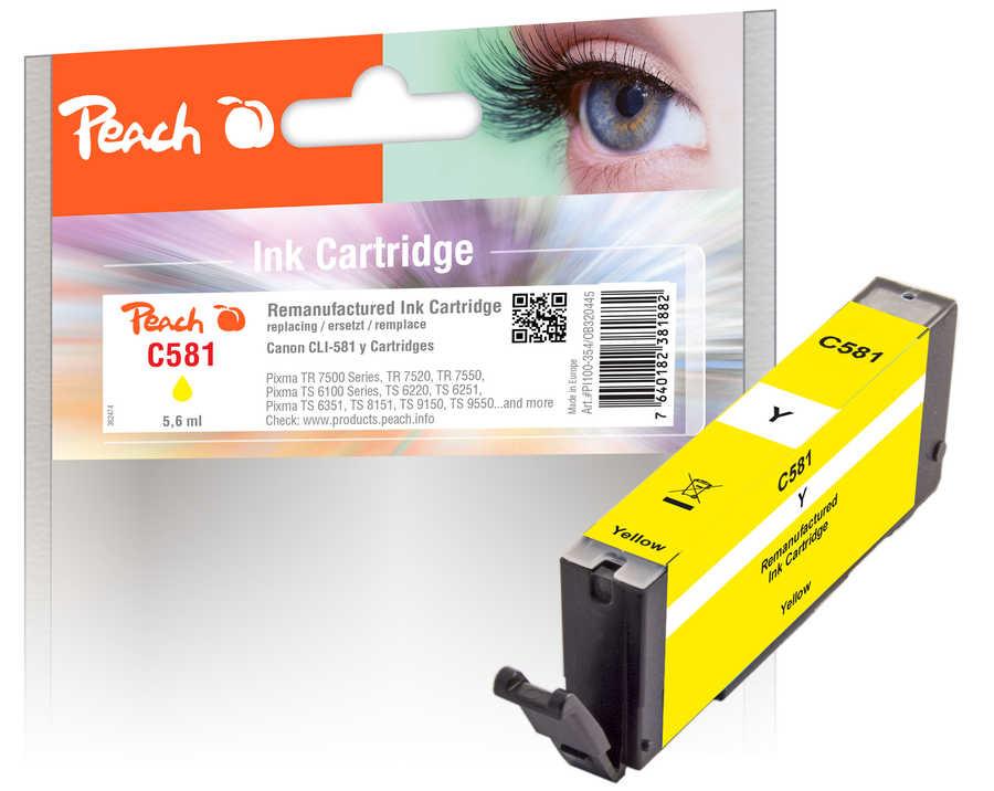 Peach Cartouche d'encre  jaune, compatible avec Canon Pixma TS 9100 Series