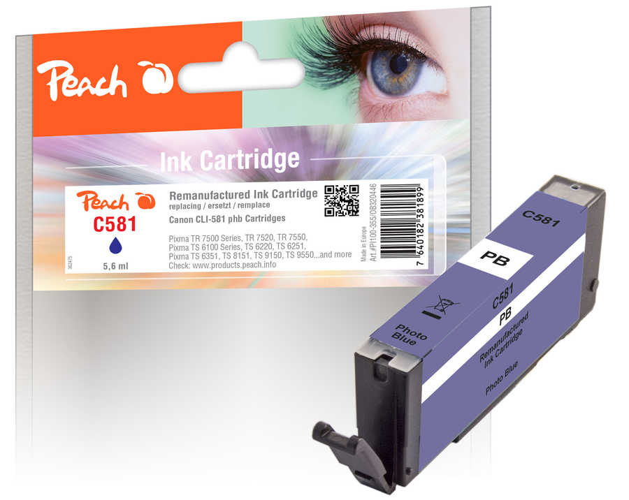 Peach  Ink Cartridge photo blue, compatible with Canon Pixma TS 9100 Series