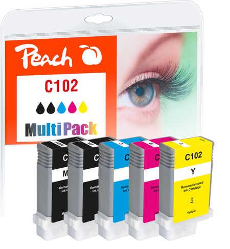 Peach Multipack  avec puce, compatible avec Canon imagePROGRAF IPF 500