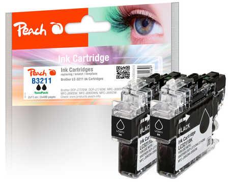 Peach  Twin Pack cartouche d'encre noire, compatible avec ID-Fabricant: LC-3211BK Brother MFCJ 491 DW