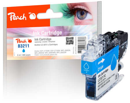 Peach Cartouche d'encre  cyan, compatible avec ID-Fabricant: LC-3211C Brother MFCJ 491 DW