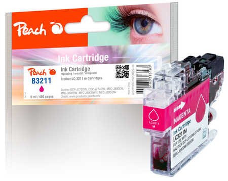 Peach Cartouche d'encre  magenta, compatible avec ID-Fabricant: LC-3211M Brother MFCJ 491 DW