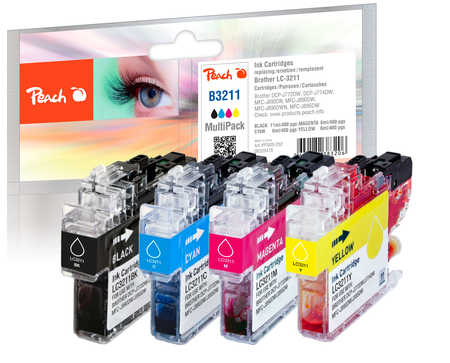 Peach  Multipack avec puce, compatible avec ID-Fabricant: LC-3211VALP Brother MFCJ 491 DW