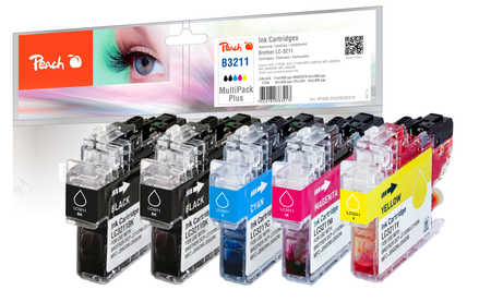 Peach  Multipack Plus avec puce, compatible avec ID-Fabricant: LC-3211 Brother MFCJ 491 DW