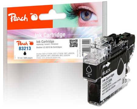 Peach Cartouche d'encre  noir, compatible avec ID-Fabricant: LC-3213BK Brother MFCJ 491 DW