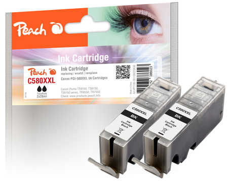 Original Peach cartouche d'encree XXL black, compatible avec Canon Pixma TR 7520