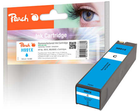 Original Peach cartouche d'encre cyan extra HC compatible avec ID-Fabricant: No. 991X, M0J90AE HP PageWide Color 755 dn