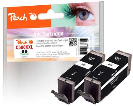 Original Peach Twin Pack cartouche d'encre XXL noire, compatible avec ID-Fabricant: PGI-580XXL bk Canon Pixma TR 7520