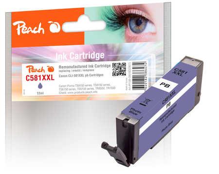 Original Peach cartouche d'encre XXL photo bleu, compatible avec ID-Fabricant: CLI-581XXL pb Canon Pixma TS 9100 Series