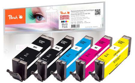 Original Peach Multipack, XXL compatible avec ID-Fabricant: PGI-580XXL, CLI-581XXL Canon Pixma TR 7520
